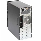Корпус Foxconn Mid Tower ATX TSAA-725 450W (FSP, 12cm fan, SATA), Airduct+2*USB2.0+Audio+Mic+Reset+80mm Fan/door, Черно-серебристый/черный глянцевый