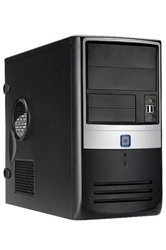 Корпус INWIN EMR-003 BS U2AXDX Micro ATX 430W (ATX 1.3, 20+4pin, 12cm Fan) USB+Audio+Heatpipe, Черно-серебристый