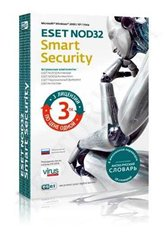 Антивирус ESET NOD32 Smart Security + англо-русский словарь, лицензия на 1 год на 3ПК