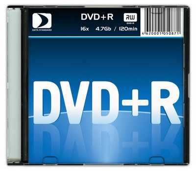 Диск DVD+R 4,7Gb Data Standart 16x  Slim  [13420-DSDRP04S]