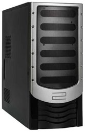 Корпус Foxconn Mid Tower ATX TSAA-142a(Black/Silver) 500W (FSP, 12cm fan, SATA), Airduct+2*USB2.0+Audio+Mic+Reset+80mm Fan+door, Черный/антрацит