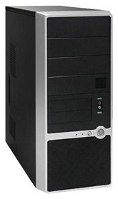 Корпус Foxconn Mid Tower ATX TSAA-460 500W (FSP, 12cm fan, SATA), Airduct+2*USB2.0+Audio+Mic+Reset+80mm Fan, Черно-серебристый