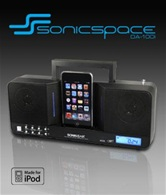 Колонки для Apple iPod/iPhone SonicGear Sonic Space DA 100i <2.0, 3 Вт, ЖК-дисплей, часы, будильник, FM, ПДУ>