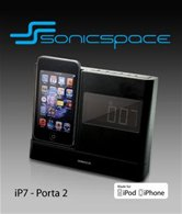 Колонки для Apple iPod/iPhone SonicGear IP7 Porta 2 <ЖК-дисплей, часы, будильник, FM, AUX-In>