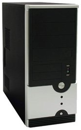 Корпус Foxconn Mid Tower ATX TSAA-614 500W (FSP, 12cm fan, SATA), Airduct+2*USB2.0+Audio+Mic+Reset+80mm Fan, Черно-серебристый (плохая упаковка)