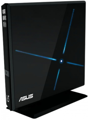 Привод Внешний BlueRAY Combo ASUS SBC-06D1S-U (USB, Slim, черный, Cyberlink BD Suite (Power2Go(Burn) + PowerDVD9 (Playback))) Retail