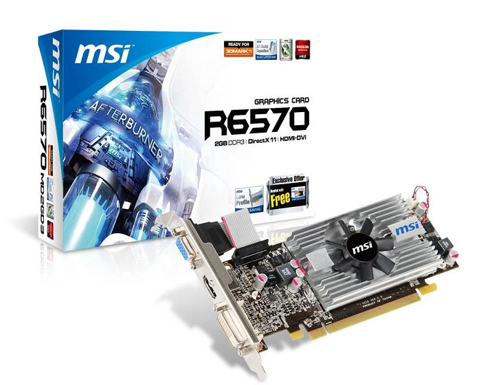 Видеокарта MSI PCI-E R6570-MD2GD3/LP Radeon 6570 2Gb DDR3 (128bit) VGA DVI HDMI Retail