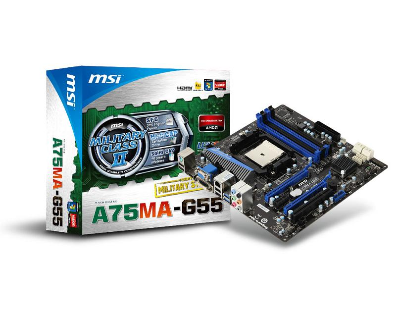 Материнская плата Socket-FM1 MSI A75MA-G55 (AMD A75) mATX  Retail