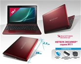 "Нетбук Эксимер® M11-1011 10,1""/Atom N570/2Gb/320Gb/GMA 3150 /WiFi/Bt/3Cell/6Cell/Web-cam/DOS/mouse/bag/red"