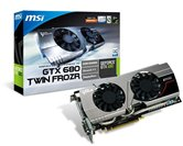 Видеокарта MSI PCI-E GeForce GTX680 TWIN FROZR OC 2GB GDDR5 (256bit) 1058/6008 DVI-I/DP/HDMI (N680GTX Twin Frozr 2GD5/OC) RTL