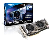 Видеокарта MSI PCI-E N570GTX Twin Frozr II GeForce with CUDA GTX570 1280Mb DDR5 (320bit) Dual DVI miniHDMI  Retail