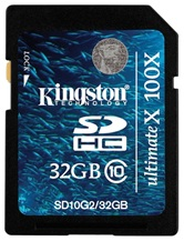 Карта памяти Secure Digital Card 32GB  Kingston  SDHC Class 10 [SD10G2/32GB]