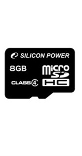 Карта памяти Micro Secure Digital Card 8Gb SDHC Class4 Silicon Power (без адаптера) Retail