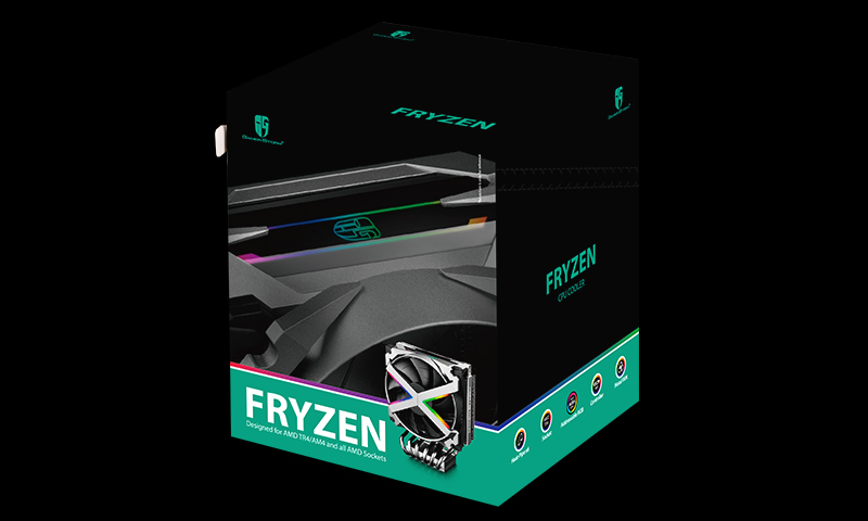 Кулер DEEPCOOL FRYZEN TR4/AM4/AM3+/AM3/AM2+/AM2/FM2+/FM2/FM1 (4шт/кор, TDP 250W, PWM, RGB Lighting, 6 Heatpipe, Copper Base) RET