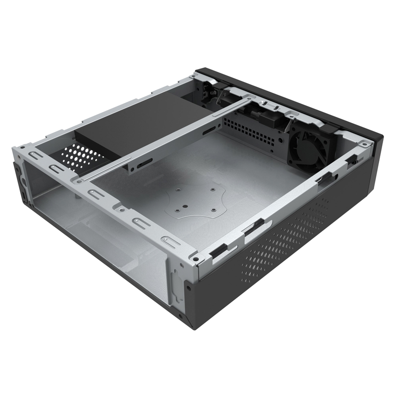 Корпус POWERMAN ME100S-BK (Desktop / SFF 2л, mini-ITX, twin mini-ATX, внешний БП 60W, GM-120 DC-ATX, USB3.0x2 + Audio, черный) <6120093>