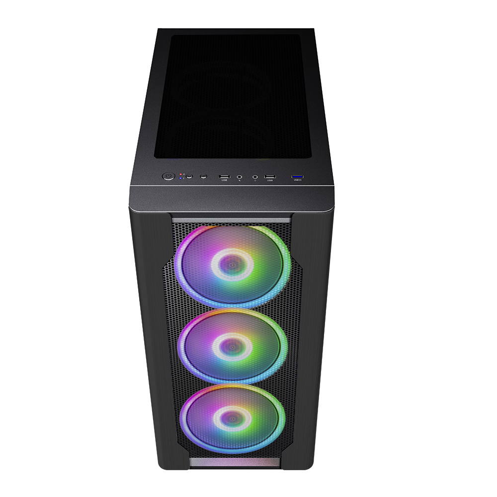 Корпус 1STPLAYER DK DX BLACK / E-ATX, tempered glass, fans controller & remote / 3x 140mm RGB fans inc. / DX-BK-M1-PLUS