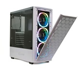 Корпус Powercase Alisio Mesh M3 White ARGB, Tempered Glass, 3х 120mm ARGB fan, fans controller & remote, белый, ATX  (CASMW-A3)