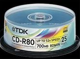 Диск CD-R 700Mb TDK 52x  Cake box, 25шт