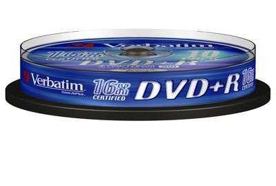 Диск DVD+R 4,7Gb Verbatim 16x  Cake box, 10шт
