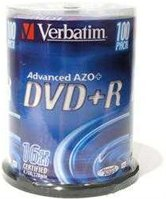 Диск DVD+R 4,7Gb Verbatim 16x  Cake box, 100шт