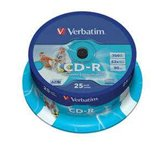 Диск CD-R 700Mb Verbatim 52x  Cake box, 25шт, Printable