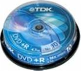Диск DVD+R 4,7Gb TDK 16x  Cake box, 10шт, Photo Printable