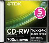 Диск CD-RW 700Mb TDK 16-24x  Slim box, 5шт