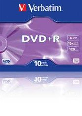 Диск DVD+R 4,7Gb Verbatim 16x  Jewel, 10шт