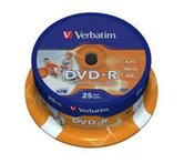 Диск DVD-R 4,7Gb Verbatim 16x  Cake box, 25шт Photo Printable