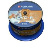 Диск DVD-R 4,7Gb Verbatim 16x  Cake box, 50шт, Inkjet Printable