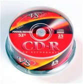 Диск CD-R 700Mb VS 52x Cake box,  25шт