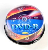 Диск DVD-R 4,7Gb VS 16x Cake box,  25шт