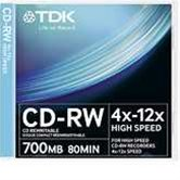 Диск CD-RW 700Mb TDK 12x High Speed, Slim, 10шт