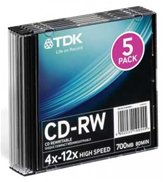 Диск CD-RW 700Mb TDK 12x Light Speed, Slim, 5шт