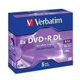 Диск DVD+R 8,5Gb Verbatim 8x  Dual Layer,  Jewel, 5шт
