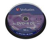 Диск DVD+R 8,5Gb Verbatim 8x  Dual Layer, Cake box, 10шт