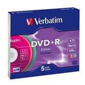 Диск DVD+R 4,7Gb Verbatim 16x  Slim Color, 5 шт