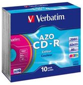 Диск CD-R 700Mb Verbatim 52x  Slim DL+, 10шт, Color