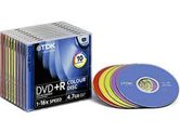 Диск DVD+R 4,7Gb TDK 16x  Slim Color, 10шт