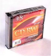 Диск CD-RW 700Mb VS 12x  Slim case, 5шт