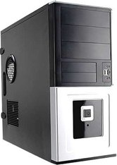 Корпус INWIN EAR-016 BS U2AXDX Middle ATX 400W (ATX 2.0, 20+4pin, 12cm Fan) USB+Audio+Heatpipe. Черно-серебристый