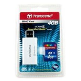 Карта памяти Secure Digital Card 4Gb Transcend  [TS4GSDHC6-S5W] + USB SDHC/MMC Reader Class 6 Retail