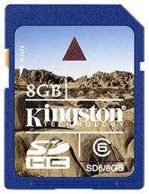 Карта памяти  Secure Digital Card 8Gb Kingston [SD6/8GB] Class6
