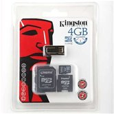 Карта памяти  Micro Secure Digital Card 4GB Kingston (2 адаптера+card reader) [MBLYG2/4GB]