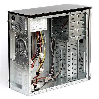 Корпус ASUS TA-D54/450, ATX middle tower, 450W/2USB/Audio/Airduct/120mm Fan, Черно-серебристый
