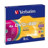 Диск DVD+RW 4,7Gb Verbatim 4x  Slim Color, 5шт