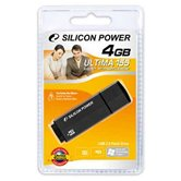 Накопитель USB Flash Drive + microSDHC card reader  Silicon Power Ultima 155 4Gb black ( retail)