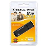 Накопитель USB Flash Drive + microSDHC card reader  Silicon Power Ultima 155 8Gb black ( retail)