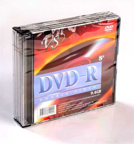 Диск DVD-R 9,4Gb VS 8x Slim,  5шт, Double Sided