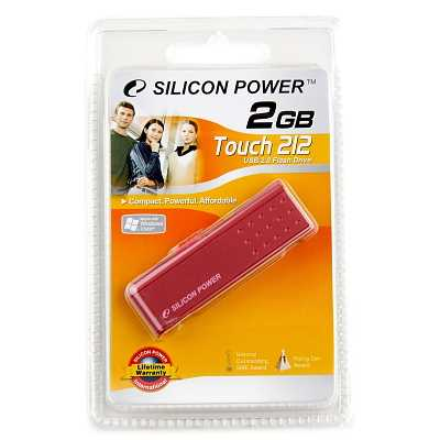 Накопитель Flash USB Drive Silicon Power Touch 212  2Gb  Red  (Retail)